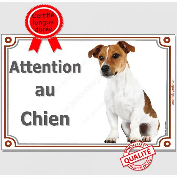Jack Russell Blanc et Fauve, affiche portail attention au chien, plaque pancarte panneau
