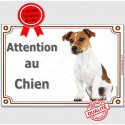 "Jack Russell assis, plaque ""Attention au Chien"" 2 tailles LUX A"