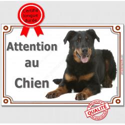 """Beauceron couché, plaque portail """"Attention au Chien"""" 3 tailles LUX A"""