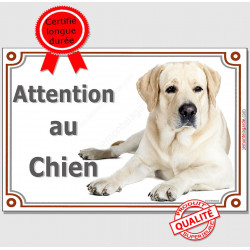 "Labrador Sable Couché, plaque ""Attention au Chien"" 2 tailles LUX A"