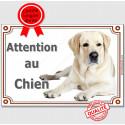 """Labrador Sable, plaque """"Attention au Chien"""" 2 tailles LUX C"""