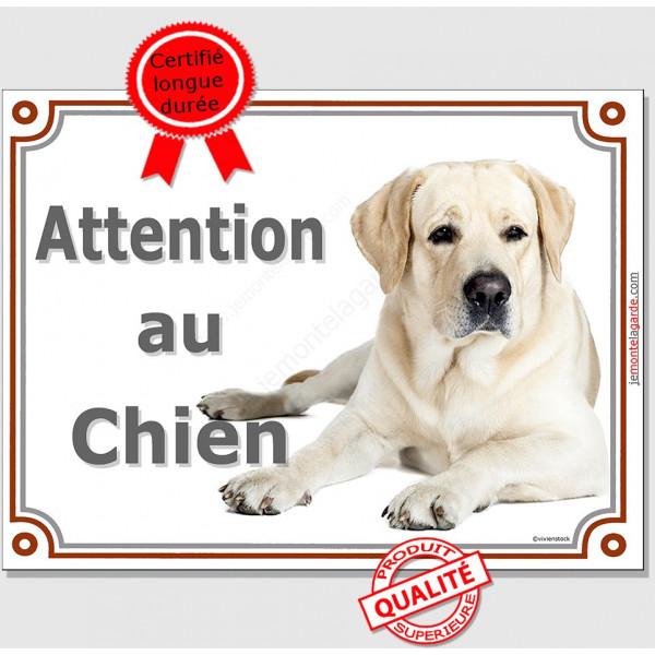 """Labrador Sable Couché, plaque portail """"Attention au Chien"""" pancarte affiche panneau"""