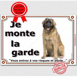 """Leonberg assis, plaque """"Je Monte la Garde"""" 2 tailles LUX B"""