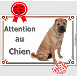 "Shar-Peï Fauve assis, plaque ""Attention au Chien"" 2 tailles LUX A"