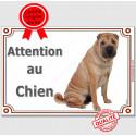 """Shar-Peï Fauve assis, plaque """"Attention au Chien"""" 2 tailles LUX A"""