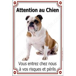 """Bulldog Anglais, plaque verticale """"Attention au Chien"""" 24 cm VLC"""