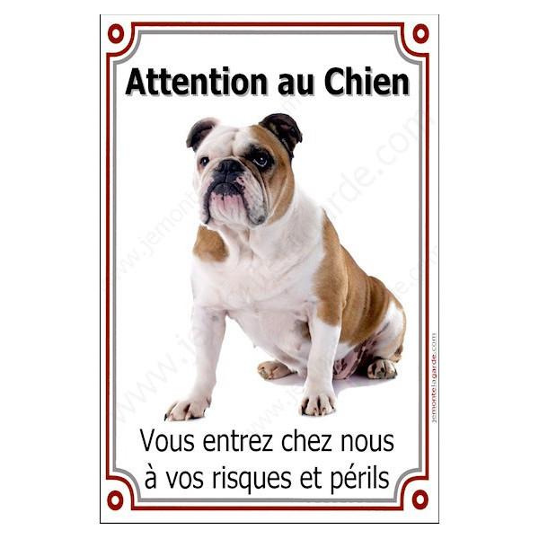 Bulldog Anglais avec Cocard, Plaque Portail Attention au Chien verticale, risques périls, pancarte, affiche panneau