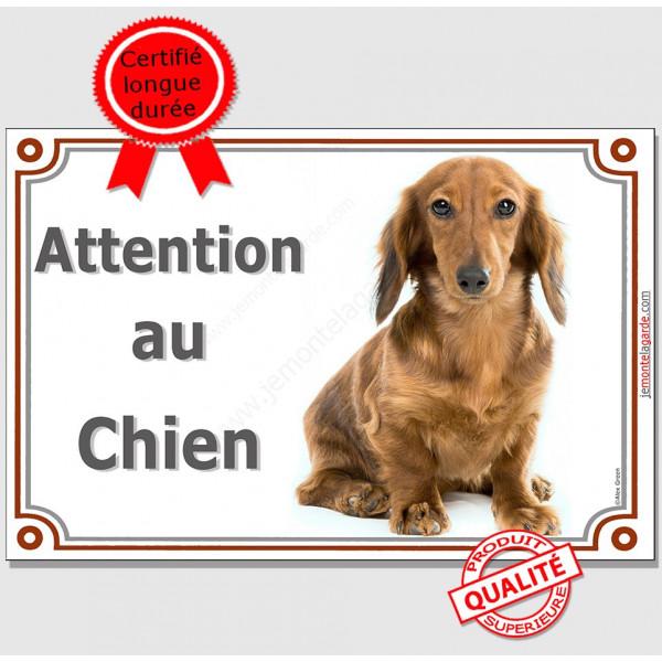 """Teckel Poils Longs Fauve, plaque portail horizontal """"Attention au chien"""" pancarte panneau photo"""