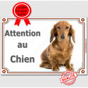 """Teckel, plaque portail """"Attention au Chien"""" 2 tailles LUX C"""