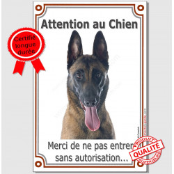 "Malinois Tête plaque vertivale ""Attention au Chien"" 24 cm Vlux A"