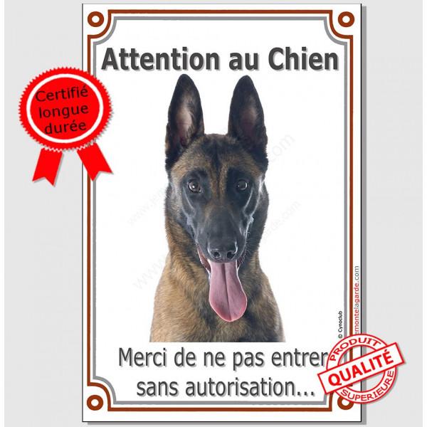 Berger Belge Malinois Tête, Plaque Portail Attention au Chien verticale, pancarte panneau interdit sans autorisation photo