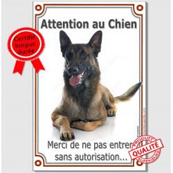 """Malinois couché, plaque portail """"Attention au Chien""""  24 cm LUX A"""