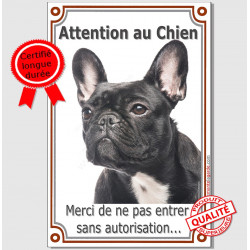 "Bouledogue Français, plaque verticale ""Attention au Chien"" 24 cm LUX A"