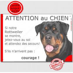 """Rottweiler, plaque """"Jetez Vous au Sol, Attention au Chien"""" 24 cm JET"""