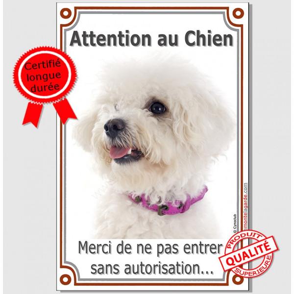 Bichon Frisé, panneau portail vertical Attention au Chien, interdit sans autorisation, plaque pancarte affiche