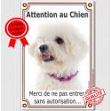 """Bichon Frisé, plaque verticale """"Attention au Chien"""" 24 cm LUX A"""
