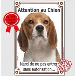 Beagle, plaque portail verticale attention au chien, pancarte affiche panneau, pas enter sans autorisation interdit