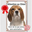 """Beagle tête, plaque """"Attention au Chien"""" 24 cm VLUX A"""