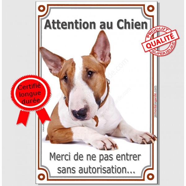 Bull Terrier Fauve, Plaque Portail Attention au Chien verticale, panneau pancarte interdit sans autorisation marron et blanc