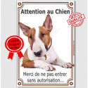 """Bull Terrier, plaque """"Attention au Chien"""" 24 cm VLC"""
