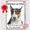 """Bull Terrier Tricolore, plaque """"Attention au Chien"""" 24 cm LUX A"""