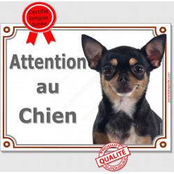 Plaque portail 2 tailles Attention au Chien, Chihuahua noir et feu à poils courts Tête pancarte panneau