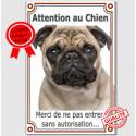 """Carlin fauve, plaque verticale """"Attention au Chien""""  24 cm LUX A"""