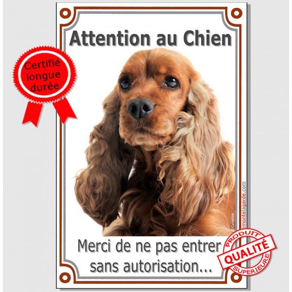 Cocker Anglais Roux, Pancarte Portail Verticale Attention au Chien, panneau interdit sans autorisation photo