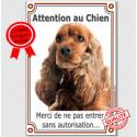 """Cocker Anglais Roux, plaque verticale """"Attention au Chien"""" 24 cm LUX A"""