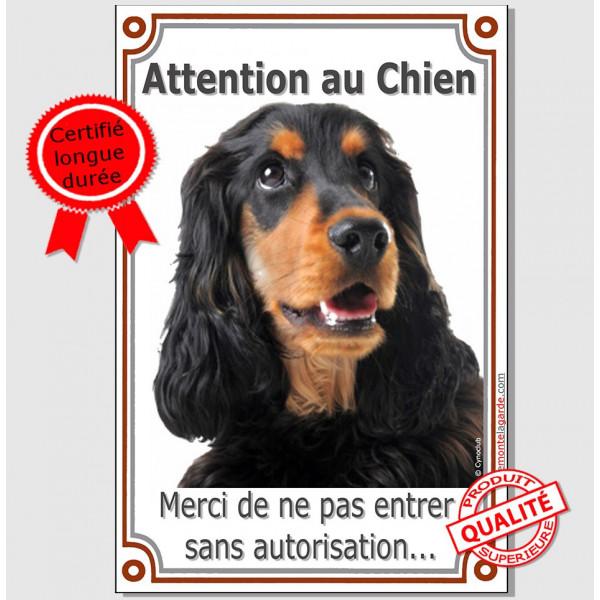 Cocker Anglais Noir et Feu, Pancarte Portail Verticale Attention au Chien, panneau plaque interdit sans autorisation photo