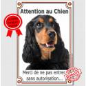 """Cocker Anglais, plaque verticale """"Attention au Chien"""" 24 cm Vlux A"""