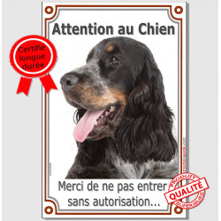 Cocker Anglais Tricolore, Pancarte Portail Verticale Attention au Chien, panneau interdit sans autorisation photo