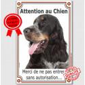 """Cocker Anglais Tricolore, plaque portail """"Attention au chien"""" 24 cm LUX A"""