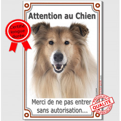 "Colley Fauve, plaque ""Attention au chien"" 24 cm Vlux A"