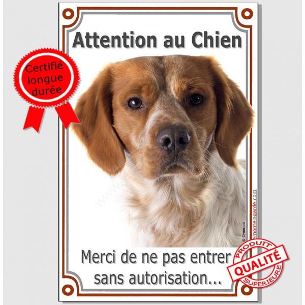 """Epagneul Breton Orange, plaque verticale portail """"Attention au Chien"""" pancarte panneau """"interdit sans autorisation"""" photo"""