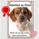 """Epagneul Breton Orange, plaque """"Attention au Chien"""" 24 cm Vlux A"""