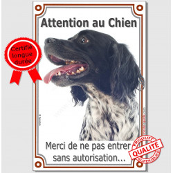 "Epagneul Breton Noir, plaque ""Attention au Chien"" 24 cm VL-A"