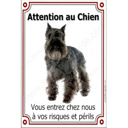 "Schnauzer Noir, plaque verticale ""Attention au Chien"" 24 cm"