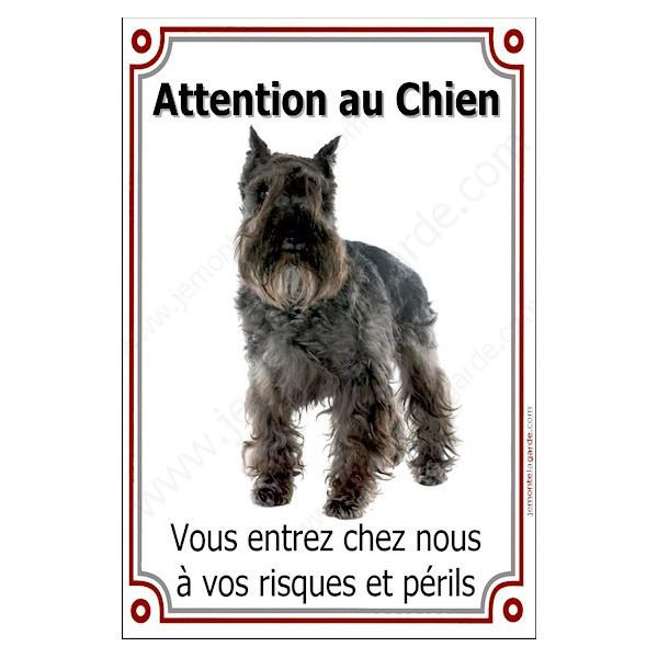 Schnauzer Noir Plaque Portail Attention au Chien verticale, risques périls, pancarte, affiche panneau