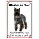 """Schnauzer Noir, plaque verticale """"Attention au Chien"""" 24 cm"""
