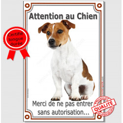 "Jack Russell Fauve, plaque ""Attention au Chien"" 24 cm VL-A"