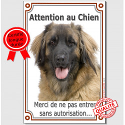 "Leonberg , plaque verticale ""Attention au Chien"" 24 cm VL-A"