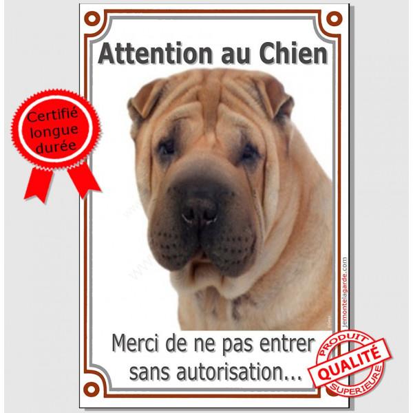 """Shar-Peï fauve maron, Plaque Portail Verticale """"Attention au Chien, interdit sans autorisation"""" pancarte panneau photo"""