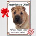 """Shar-Peï fauve, plaque verticale """"Attention au Chien"""" 24 cm VL-A"""