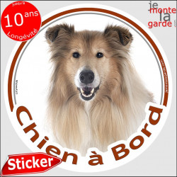 "Colley fauve, sticker voiture rond ""Chien à Bord"" 14 cm"
