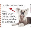 Plaque 16 cm LOVE Membre de la Famille, Chien Chinois à Crête