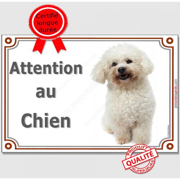 """Bichon Frisé, Pancarte Portail """"Attention au Chien"""" panneau plaque affiche photo race"""