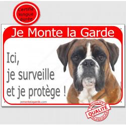 """Boxer Fauve Tête, plaque portail rouge """"Je Monte la Garde, surveille et protège"""" pancarte attention au chien panneau"""