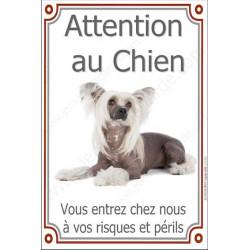 Plaque 24 cm LUXE Attention au Chien, Chien Chinois à Crête
