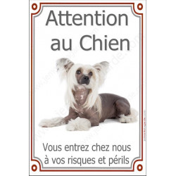 Chien Chinois à Crête, Plaque Portail Attention au Chien verticale, risques périls, pancarte, affiche panneau